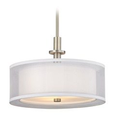 Double Organza Drum Pendant Light Satin Nickel 16 Inches Wide 3 Lt