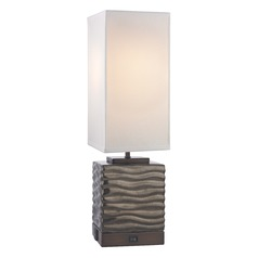 Bronze Glaze Table Lamp with White Linen Square Shade