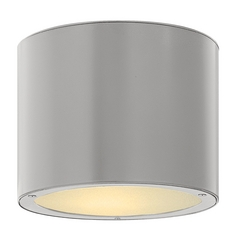 Modern Close To Ceiling Light with White Glass in Titanium Finish
