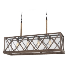 Feiss Lighting Lumiere Dark Weathered Oak / Oil Rubbed Bronze Island Light with Rectangle Shade