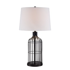 Lite Source Earnest Black Table Lamp with Drum Shade