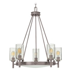 Industrial Seeded Glass Nickel Chandelier with Center Bowl by Hinkley Lighting