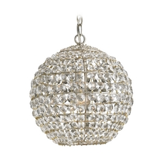 Crystal Pendant Light in Silver Leaf Finish