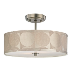 Drum Ceiling Light with Silver Shade - 16-Inches Wide