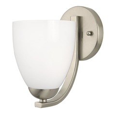 Modern Wall Sconce with Opal White Bell Glass Shade