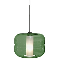 Oggetti Lighting Helsinki Satin Nickel Pendant Light with Drum Shade