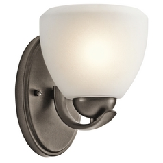 Kichler Lighting Kichler Modern Sconce Wall Light with White Glass in Bronze Finish 45117OZ