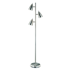 Lite Source Lighting Bullets Polished Steel Floor Lamp with Oval Shade