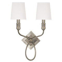 Sconce Wall Light with White Shades in Aged Silver Finish