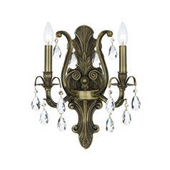Crystal Sconce Wall Light in Antique Brass Finish