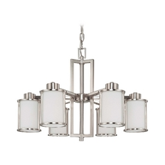 Chandelier with White Glass in Brushed Nickel Finish