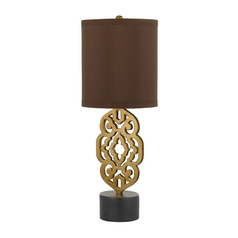 Table Lamp with Brown Shade in Satin Brass Finish