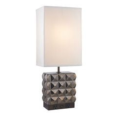 Bronze Glaze Table Lamp with White Linen Rectangle Shade