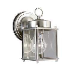 Progress Outdoor Wall Light with Clear Glass in Brushed Nickel Finish