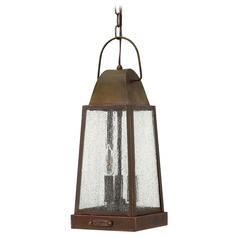 Outdoor Hanging Light with Clear Glass in Sienna Finish