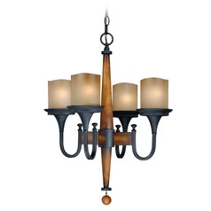 Meritage Charred Wood and Black Iron Mini-Chandelier by Vaxcel Lighting