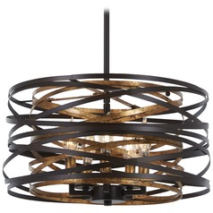 Minka Lavery Vortic Flow Dark Bronze with Mosaic Gold Pendant Light with Drum Shade