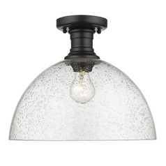 Golden Lighting Hines Black Semi-Flushmount Light with Seeded Shade
