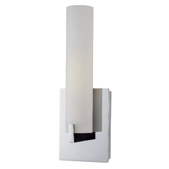 Modern Sconce with White Glass Shade in Chrome Finish