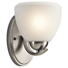 Kichler Lighting Kichler Modern Sconce Light with White Glass in Brushed Nickel Finish 45117NI