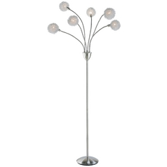 Modern Floor Lamp in Satin Steel Finish