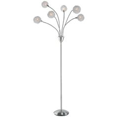 Modern Floor Lamp in Satin Steel Finish