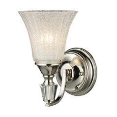 Lincoln Square 1 Light Wall Sconce In Polished Nickel And Clear Crystalline Glass