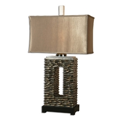 Table Lamp with Brown Shade in Aged Dark Bronze Finish