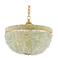 Currey and Company Bayou Gold Leaf / Seaglass Pendant Light