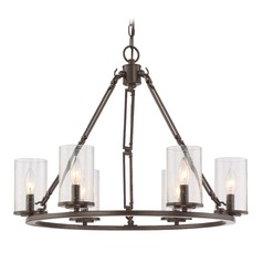 Seeded Glass Chandelier Bronze Quoizel Lighting