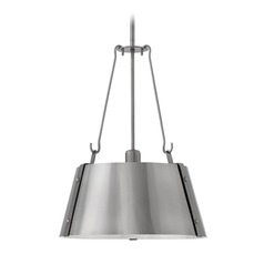 Industrial Polished Antique Nickel Pendant Light by Hinkley Lighting