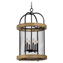 Maxim Lighting Lancaster Driftwood / Black Pendant Light with Cylindrical Shade