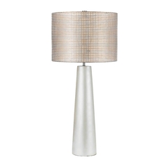 Modern Table Lamp with Beige / Cream Shade in Pearl Finish