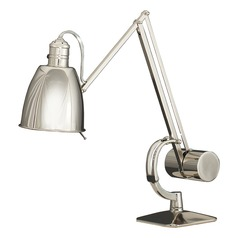 Robert Abbey Dave Polished Nickel Table Lamp with Bowl / Dome Shade