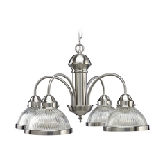 Farmhouse Chandelier Prismatic Glass Brushed Nickel by Progress Lighting
