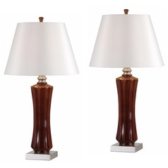 Kenroy Home Lighting Hoffman Mahogany Table Lamp Set