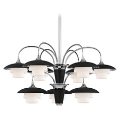 Mid-Century Modern Chandelier Polished Nickel Barron by Hudson Valley Lighting