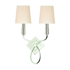 Sconce Wall Light with Beige / Cream Paper Shades in Polished Nickel Finish