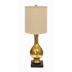 Table Lamp with Beige / Cream Shade in Gold and Black Finish