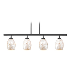 Linear Pendant Light with 4-Lights and Mosaic Glass in Black Finish
