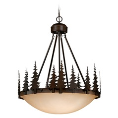 Yosemite Burnished Bronze Pendant Light with Bowl / Dome Shade by Vaxcel Lighting