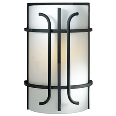 Minka Lighting Sconce Wall Light with White Glass in Black Finish 6871-66
