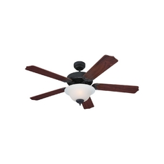 Ceiling Fan with Light with White Glass in Weathered Iron Finish