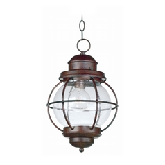 Outdoor Hanging Light with Clear Glass in Gilded Copper Finish