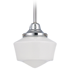 6-Inch Schoolhouse Mini-Pendant Light in Chrome Finish