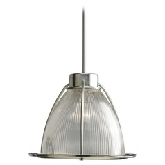 Farmhouse Pendant Light Prismatic Glass Brushed Nickel Glass Pendants by Progress Lighting