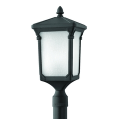 Post Light with White Glass in Museum Black Finish