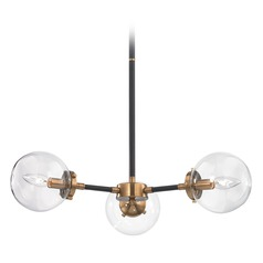 Mid-Century Modern Chandelier Black, Gold Boudreaux by Elk Lighting