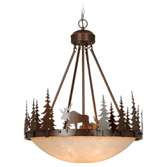 Yellowstone Burnished Bronze Pendant Light with Bowl / Dome Shade by Vaxcel Lighting