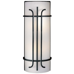 Minka Lighting Sconce Wall Light with White Glass in Black Finish 6872-66